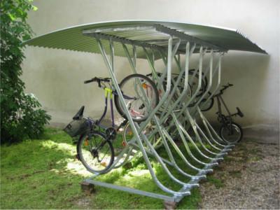 Fahrradständer mit Dach, Fahrradständer mit Überdachung, Fahrradständer schräg hoch mit Dach