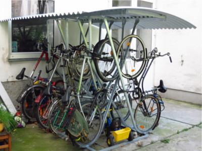 Kufenparker, Kufenparker mit Dach, Fahrradständer doppelseitig mit Dach, Fahrradständer DD